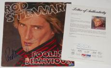 Rod Stewart Autographed Record Album (foolish Behaviour) - Psa Dna!