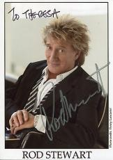 ROD STEWART HAND SIGNED 5x7 COLOR PHOTO+COA       AWESOME POSE   TO THERESA