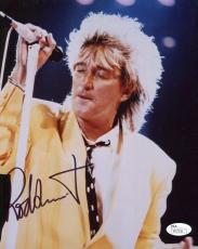 ROD STEWART HAND SIGNED 8x10 COLOR PHOTO       GREAT IN CONCERT POSE     JSA