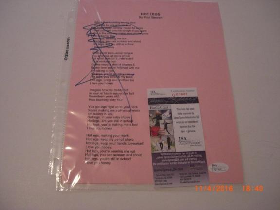 Rod Stewart Hot Legs Jsa/coa Signed 8x10 Photo Sheet Music