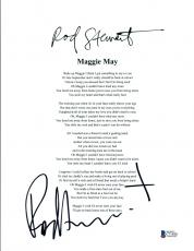 Rod Stewart Signed Autographed Maggie May Music Lyric Sheet