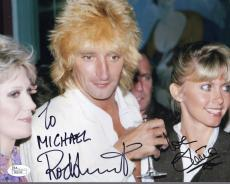 ROD STEWART+OLIVIA NEWTON JOHN HAND SIGNED 8x10 PHOTO    RARE   TO MICHAEL   JSA