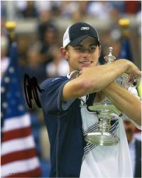 Andy Roddick Autographed 8'' x 10'' Navy Shirt Trophy Photograph
