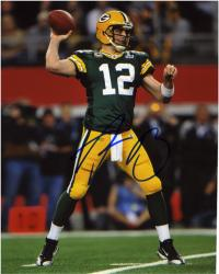 "Aaron Rodgers Green Bay Packers Autographed 8"" x 10"" Looking To Pass Photograph"