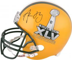 Green Bay Packers Aaron Rodgers Super Bowl XLV Champions Autographed Replica Helmet - Mounted Memories
