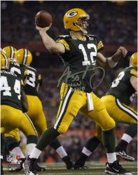 "Aaron Rodgers Green Bay Packers Super Bowl XLV Autographed 8"" x 10"" Silver Ink Photograph with SB XLV MVP Inscription"