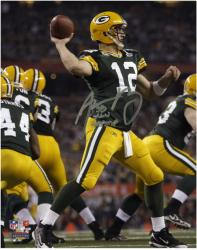 "Aaron Rodgers Green Bay Packers Super Bowl XLV Autographed 8"" x 10"" Silver Ink Photograph with SB XLV Champ Inscription"