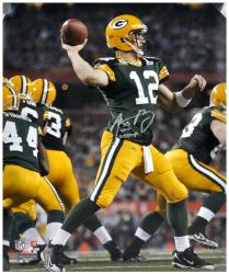 "Aaron Rodgers Green Bay Packers Super Bowl XLV Autographed 16"" x 20"" Silver Ink Photograph with SB XLV Champ Inscription"
