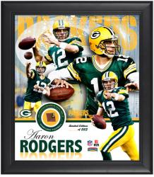 Green Bay Packers Aaron Rodgers Framed Collage with Football - Mounted Memories
