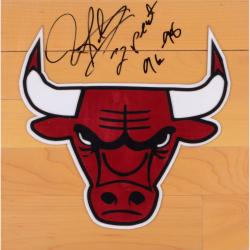 "Dennis Rodman Autographed Bulls Floor Board with ""3 Peat"" Inscription"