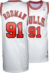 "Dennis Rodman Autographed Bulls Jersey ""3 Peat"""