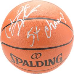 "Dennis Rodman Autographed Indoor/Outdoor Basketball with ""5x NBA Champ"" Inscription"