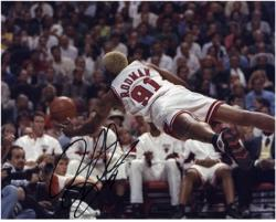 "NBA Chicago Bulls Dennis Rodman Autographed 8"" x 10"" Photo - Mounted Memories"