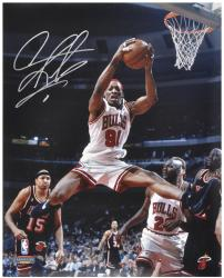 "NBA Chicago Bullls Dennis Rodman Autographed 16"" x 20"" Photo vs. Miami Heat - Mounted Memories"