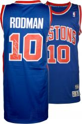 "Dennis Rodman Autographed Pistons Jersey with ""The Worm"" Inscriptions"