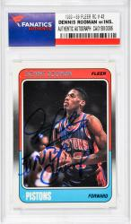 "RODMAN, DENNIS AUTO""5 X NBA CHAMP""(1988-89 FLEER RC # 43) - Mounted Memories"