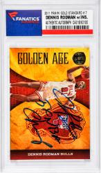 Dennis Rodman Chicago Bulls Autographed 2011 Panini G.S. #7 Card with 5 X NBA Champ Inscription