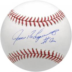 Ivan Rodriguez New York Yankees Autographed Baseball with #12 Inscription - Mounted Memories