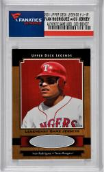 Ivan Rodriguez Texas Rangers 2001 Upper Deck Legends# J-LR Trading Card with Game-Used Jersey - Mounted Memories