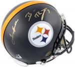 Ben Roethlisberger and Terry Bradshaw Pittsburgh Steelers Autographed Pro-Line Riddell Authentic Helmet