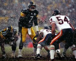 "Ben Roethlisberger and Brian Urlacher Dual Autographed 16"" x 20"" Snow Photograph"