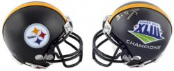 Ben Roethlisberger Half Super Bowl XLIII and Half Pittsburgh Steelers Autographed Riddell Mini Helmet - Mounted Memories