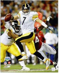 Pittsburgh Steelers Ben Roethlisberger Signed 16'' x 20'' Super Bowl XLIII Photo - Mounted Memories