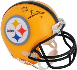 Ben Roethlisberger Pittsburgh Steelers Autographed Riddell Yellow Throwback Mini Helmet - Mounted Memories