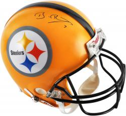 Ben Roethlisberger Pittsburgh Steelers Autographed Riddell Pro-Line Authentic Yellow Throwback Helmet - Mounted Memories