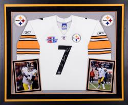 Ben Roethlisberger Pittsburgh Steelers Autographed Deluxe Framed Reebok SB Patch White Jersey with SB XL Champs Inscription