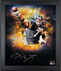 Ben Roethlisberger Pittsburgh Steelers Framed Autographed 20'' x 24'' In Focus Photograph - Mounted Memories