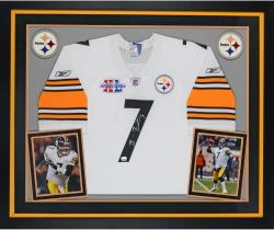 Ben Roethlisberger Pittsburgh Steelers Autographed Deluxe Framed Reebok SB Patch White Jersey
