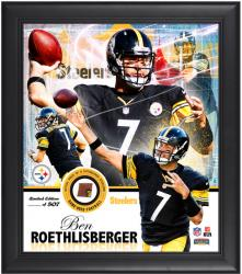 Pittsburgh Steelers Ben Roethlisberger Framed Collage with Football - Mounted Memories
