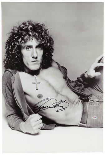 """Roger Daltrey Autographed 20""""x 30"""" The Who Black & White Stretched Canvas - BAS COA"""