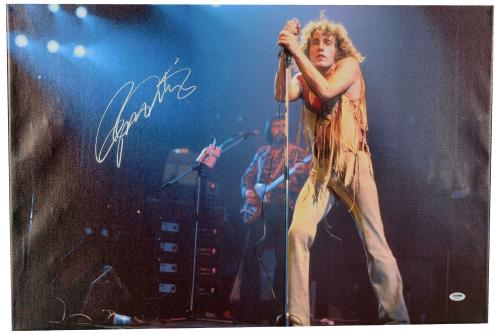 """Roger Daltrey Autographed 20""""x 30"""" The Who Horizontal Stretched Canvas - BAS COA"""