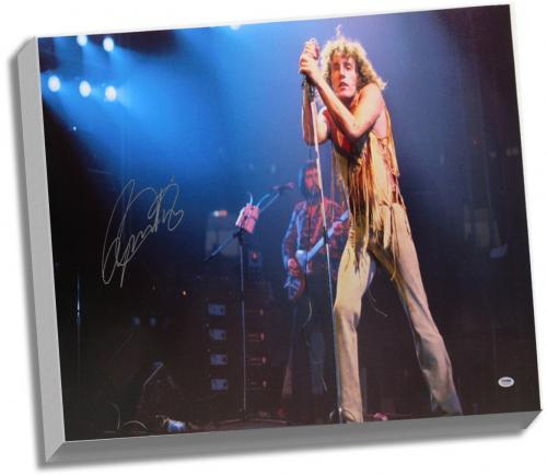 Roger Daltrey Signed 25x36 Canvas on Stage ( PSA/DNA Holo Only)