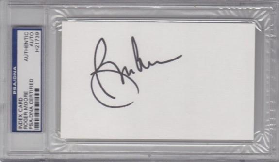 ROGER MOORE 007 JAMES BOND Signed Autographed Index Card PSA/DNA Slabbed #H21739