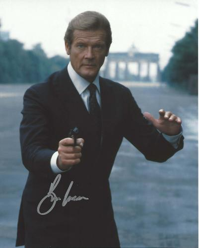 ROGER MOORE as JAMES BOND in Seven Films Between 1973 and 1985 and the Oldest Actor to have Played BOND - Signed 8x10 Color Photo