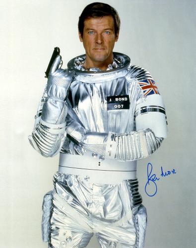 "Roger Moore Autographed 16"" x 20"" James Bond Moonraker Photograph - JSA COA"