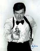 "Roger Moore Autographed 16"" x 20"" James Bond The Man With the Golden Gun Photograph - JSA COA"