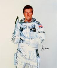 "Roger Moore Autographed 20"" x 30"" James Bond Moonraker Stretched Canvas - PSA/DNA"