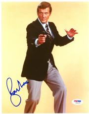 "Roger Moore Autographed 8""x 10"" James Bond Black Gun Photograph #2 - PSA/DNA COA"