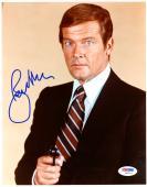 "Roger Moore Autographed 8""x 10"" James Bond Black Gun Photograph - PSA/DNA COA"