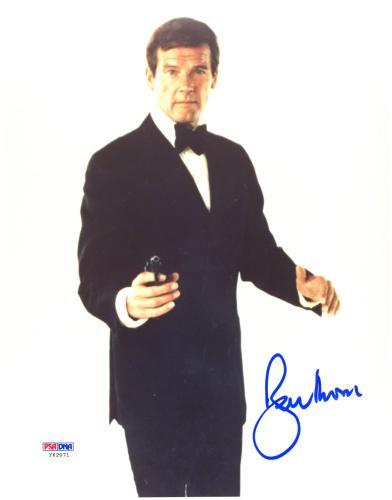 "Roger Moore Autographed 8""x 10"" James Bond Black Tux Photograph - PSA/DNA COA"