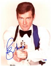 "Roger Moore Autographed 8""x 10"" James Bond Holding Silver Gun Photograph - PSA/DNA COA"