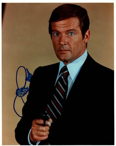 Roger Moore Autographed Signed 8x10 007 Photo AFTAL