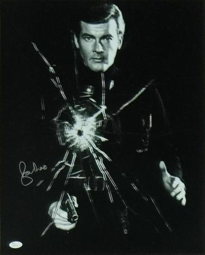 Roger Moore Autographed/signed James Bond 16x20 Photo Jsa 16946
