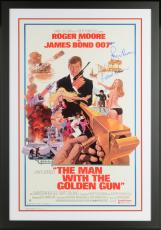 "Roger Moore, Britt Ekland & Maud Adams Framed Autographed 37"" x 25"" The Man With The Golden Gun Movie Poster - Beckett LOA"