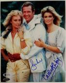 Roger Moore + Carole Ashby Signed 8x10 James Bond 007 Photo #1 Beckett BAS COA