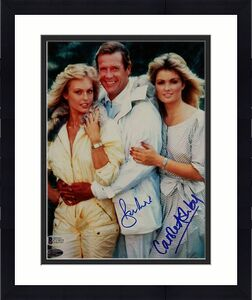 Roger Moore + Carole Ashby Signed 8x10 James Bond 007 Photo #1 Beckett BAS COA